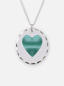 AQUA STACKED HEARTS Necklace