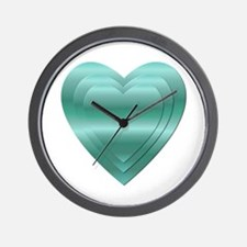 AQUA STACKED HEARTS Wall Clock