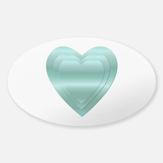 AQUA STACKED HEARTS Sticker (Oval)