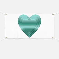 AQUA STACKED HEARTS Banner