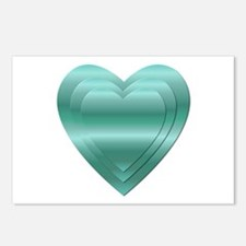 AQUA STACKED HEARTS Postcards (Package of 8)