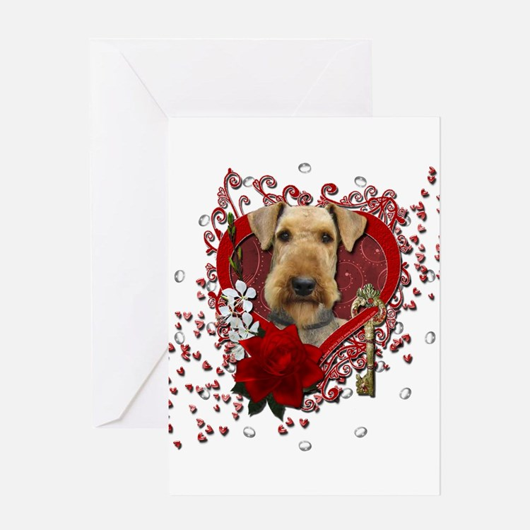 Valentines - Key to My Heart Airedale Greeting Car