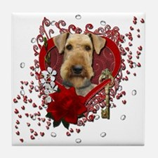 Valentines - Key to My Heart Airedale Tile Coaster