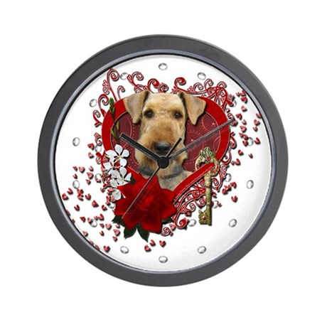 Valentines - Key to My Heart Airedale Wall Clock