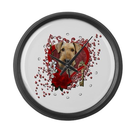 Valentines - Key to My Heart Airedale Large Wall C