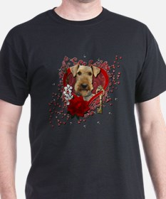Valentines - Key to My Heart Airedale T-Shirt