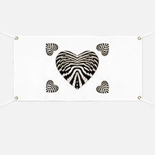 ZEBRA SKIN STACKED HEARTS Banner