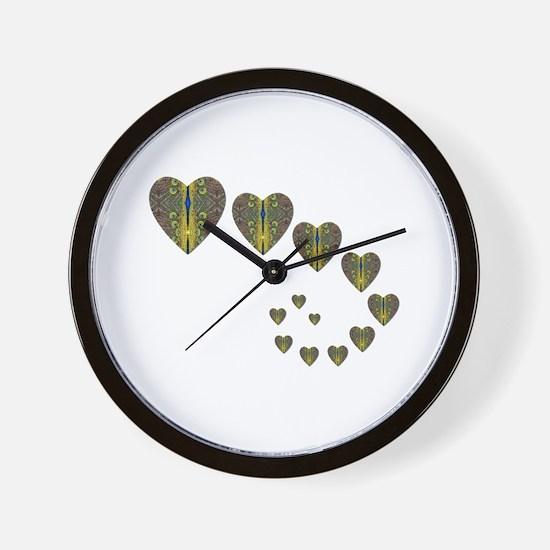 PEACOCK KALEIDOSCOPE HEART TRAILS Wall Clock