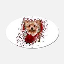 Valentines - Key to My Heart Yorkie 22x14 Oval Wal