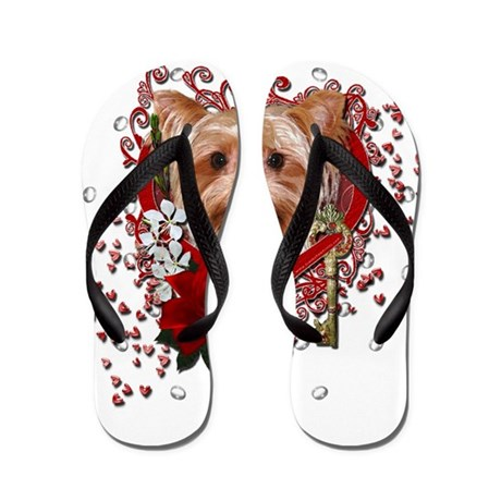 Valentines - Key to My Heart Yorkie Flip Flops