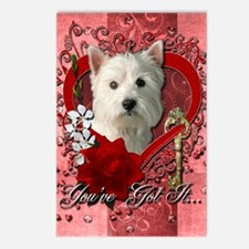 Valentines - Key to My Heart Westie Postcards (Pac