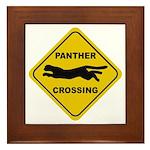 Panther Crossing Sign Framed Tile