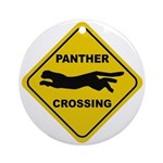 Panther Crossing Sign Ornament (Round)
