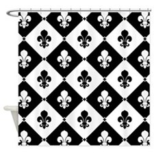 Black and white fleur de lis Shower Curtain