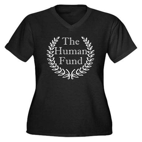 The Human Fund Women's Plus Size V-Neck Dark T-Shi