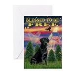 Blessed to be Free Black Lab Greeting Cards (Pk of