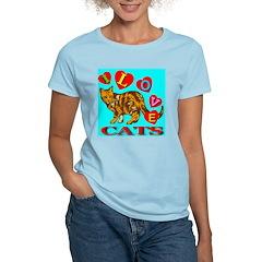 I Love Cats Skyblue Women's Pink T-Shirt