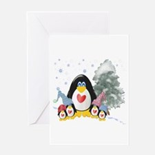 Winter Penguins Greeting Card