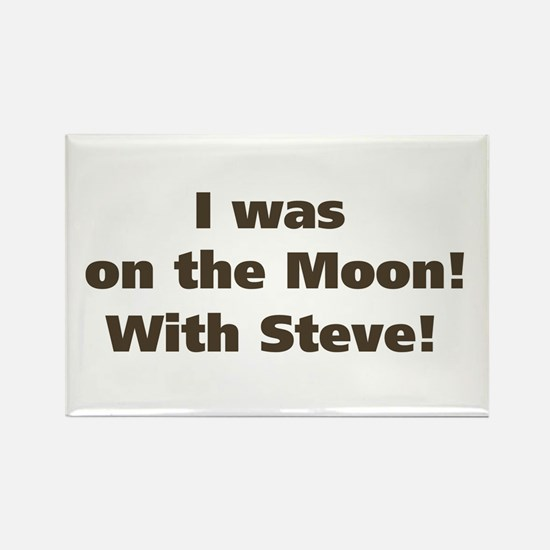 Moon with Steve Rectangle Magnet