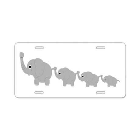 Elephants Design Aluminum License Plate