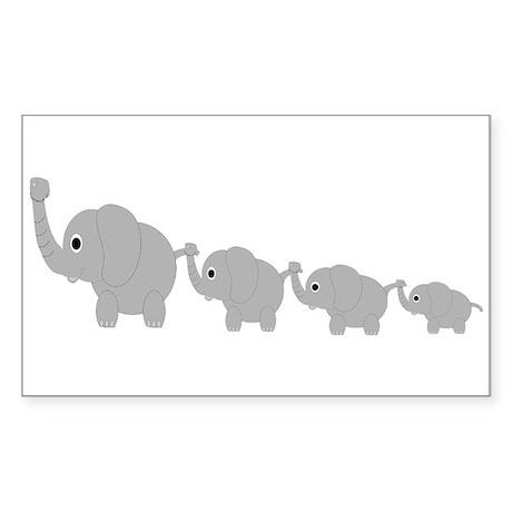 Elephants Design Sticker (Rectangle)
