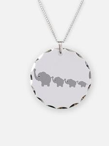 Elephants Design Necklace Circle Charm