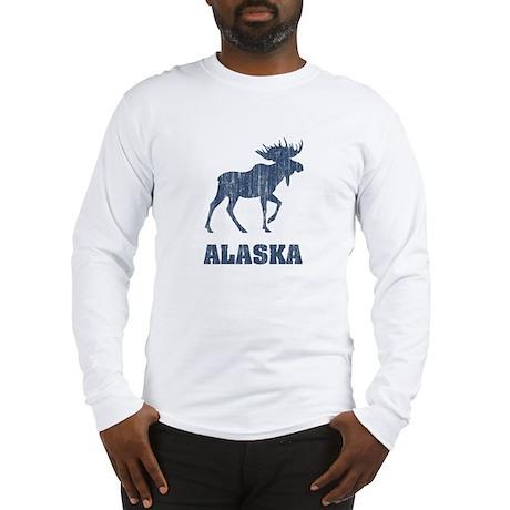 Retro Alaska Moose Long Sleeve T-Shirt