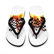 Racing Flag Fire 1 Flip Flops