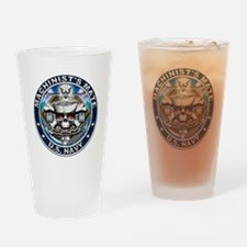 USN Machinists Mate Skull MM Drinking Glass