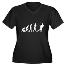 Evolve - Baseball Women's Plus Size V-Neck Dark T-