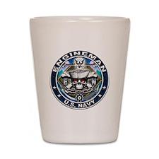 USN Engineman Skull EN Blue Shot Glass