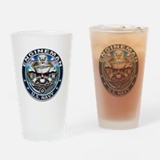 USN Engineman Skull EN Blue Drinking Glass
