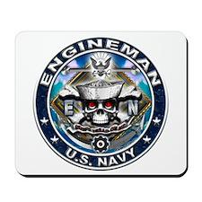 USN Engineman Skull EN Blue Mousepad