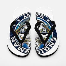 USN Engineman Skull EN Blue Flip Flops
