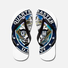 USN Quartermaster Skull QM Bl Flip Flops