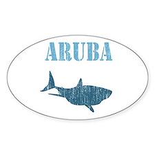 Retro Aruba Shark Oval Decal