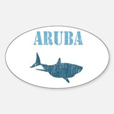 Retro Aruba Shark Oval Decal