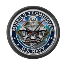 USN Missile Technician Skull Large Wall Clock