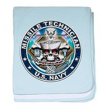 USN Missile Technician Skull baby blanket