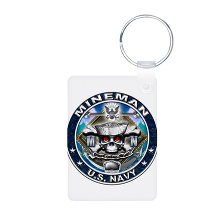 USN Mineman Skull MN Blue Aluminum Photo Keychain