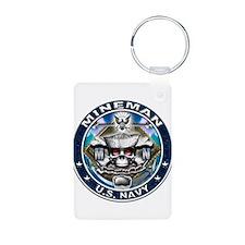 USN Mineman Skull MN Blue Keychains