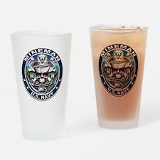 USN Mineman Skull MN Blue Drinking Glass