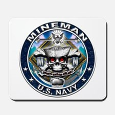 USN Mineman Skull MN Blue Mousepad