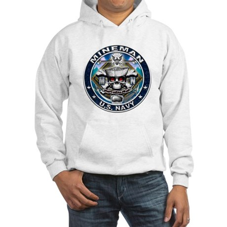 USN Mineman Skull MN Blue Hooded Sweatshirt