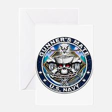 USN Gunners Mate Skull GM Blu Greeting Card