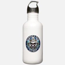 USN Gunners Mate Skull GM Blu Water Bottle