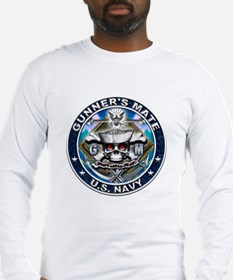USN Gunners Mate Skull GM Blu Long Sleeve T-Shirt