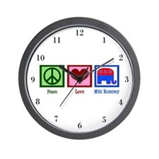 Peace Love Mitt Romney Wall Clock