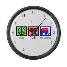 Peace Love Mitt Romney Large Wall Clock