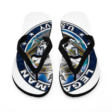 USN Legalman Skull LN Blue Flip Flops